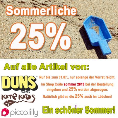 25 Prozent auf DUNS, Kite Kids, Piccalilly